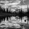 2058  G Mt  Rainier and Tipsoo Lake Sunset Sharp BW