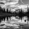 2063  G Mt  Rainier and Tipsoo Lake Sunset Sharp BW