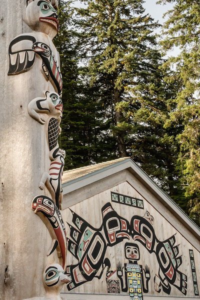 Totom Pole by Tlingit Tribal House, Glacier Bay National Park, Alaska.
