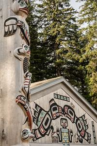 Totom Pole by Tlingit Tribal House, Glacier Bay National Park, Alaska.
