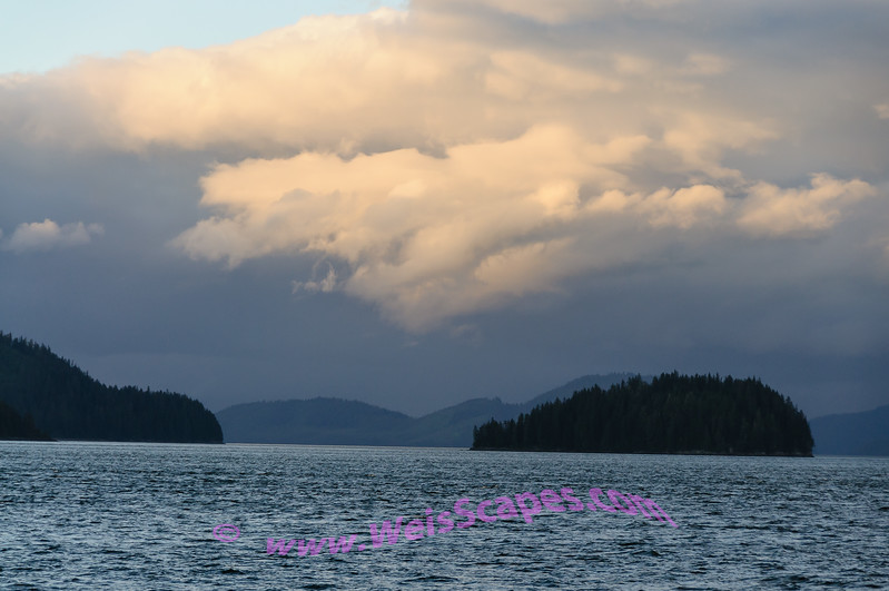 Sunset clouds over the Inside Passage of Alaska.