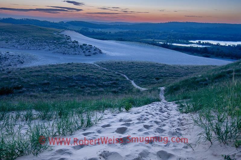 Sunrise over the Dune Climb, Sleeping Bear National Lakeshore.
