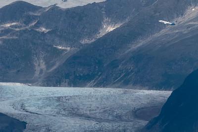Airplane flying past Mendenhall Glacier.