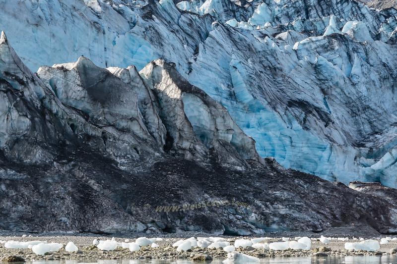 The icy face of  Lamplugh Glacier, Glacier Bay National Park, Alaska.