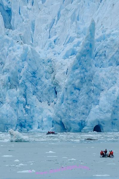 Skiffs exploring Dawe's Glacier, AK.