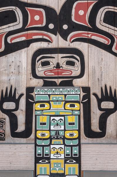 Doorway into Tlingit Tribal House, Glacier Bay National Park, Alaska.