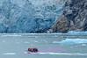Skiff approaching Dawe's Glacier, AK.