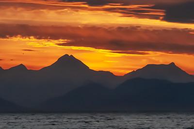 Sunset over Icy Strait, Alaska Inside Passage.