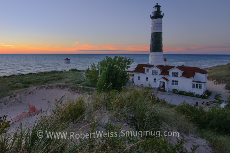 Ludington State Park lighthouse at sunset.
