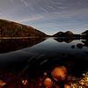 Startrails at full moon on Jordan Pond, Acadia, ME