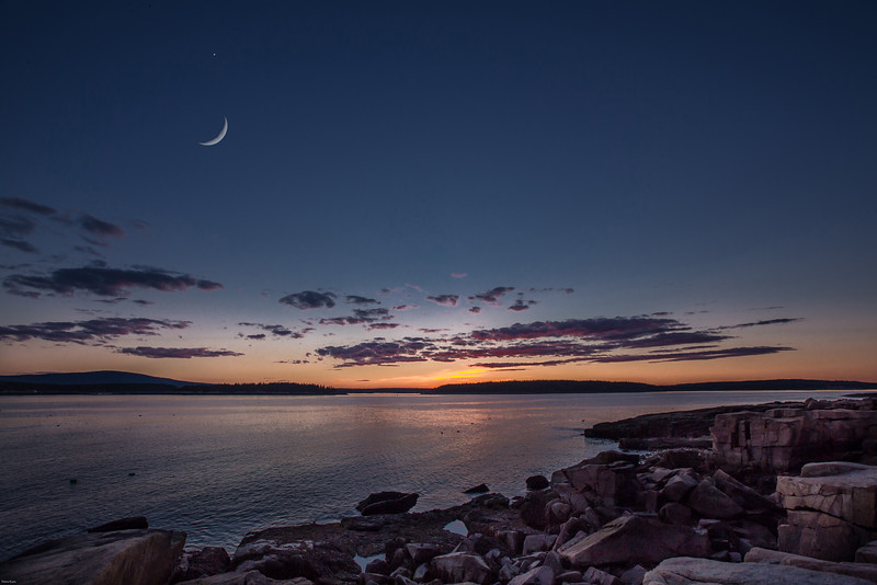 Crescent Moon off Schoodic Peninsula