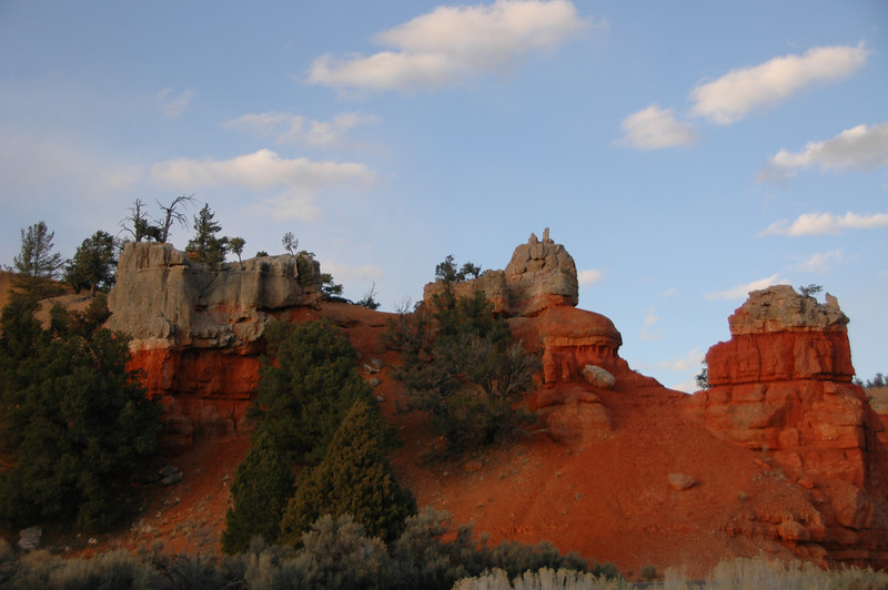 The oncoming sunset enhances the red stone in the Canyon.