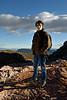 hiker in red rock