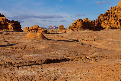 Goblin Valley takes on many different aspects depending on where you physically stand. From the parking area above, the entire valley seems filled with the hoodoos, or goblins, yet within the amphitheater itself, there are many open spaces like this one.