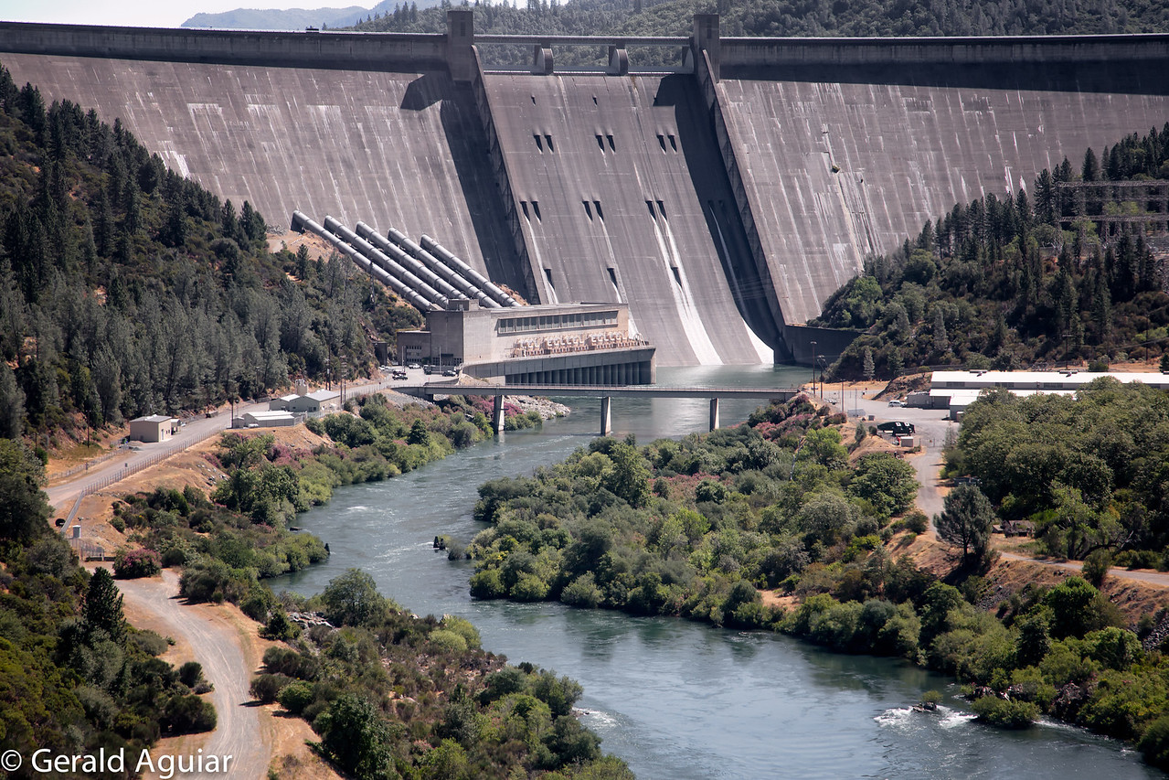 Approaching Shasta Dam.  We are about 300 feet above the Sacramento River.