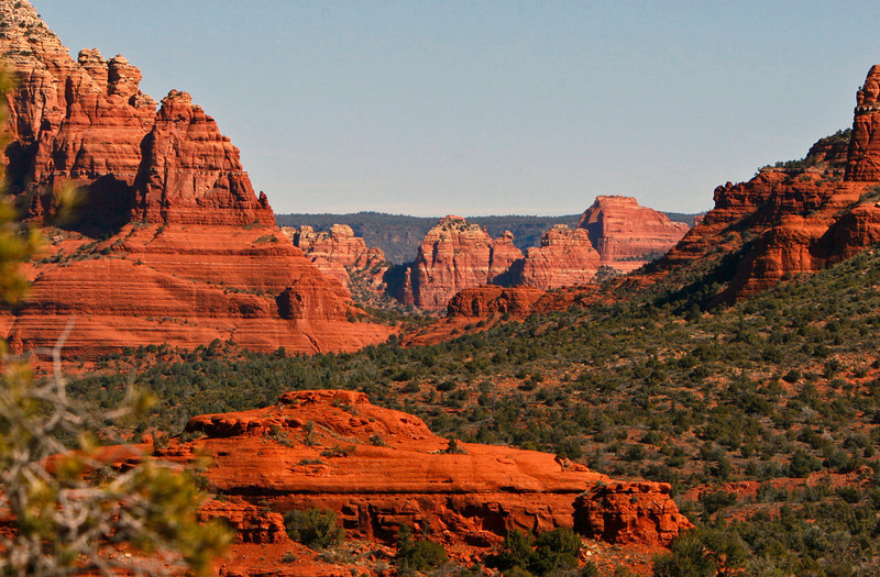 Sedona lies just below the rock formations in the back ground.