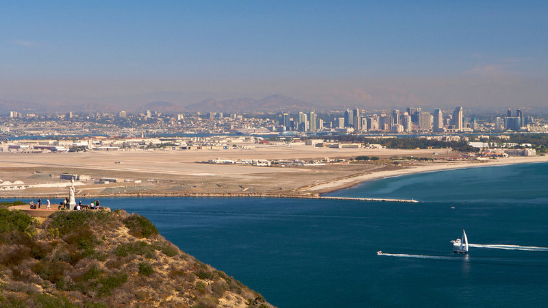 Cabrillo Monument and San Diego skyline