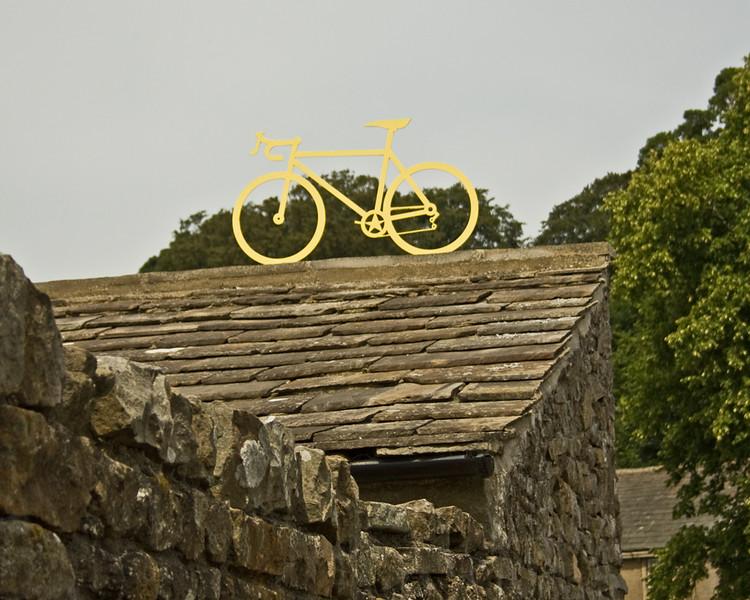 Grinton celebrating the Tour de France, which went through it