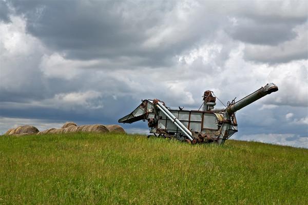 Old harvester near Chdron, Nebraska
