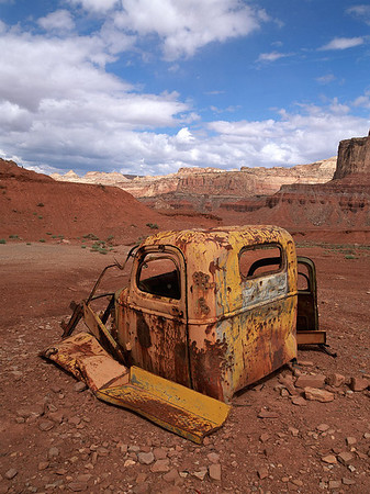 Old truck from the  uranium mining era of Utah - Vertical