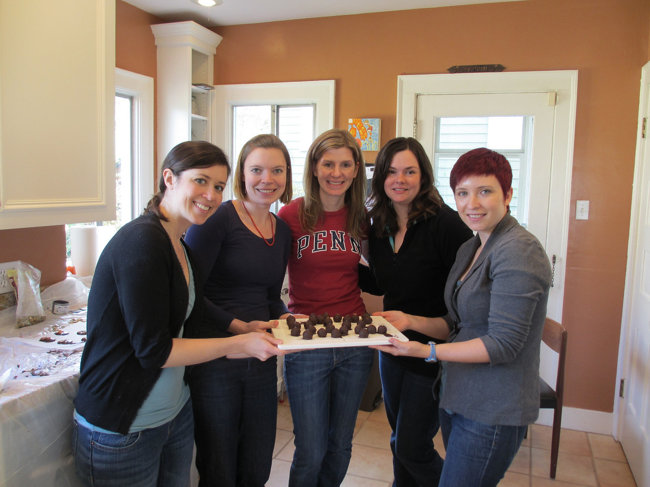 Elizabeth's chocolate making class arranged by Jenny Feinberg (second from left)