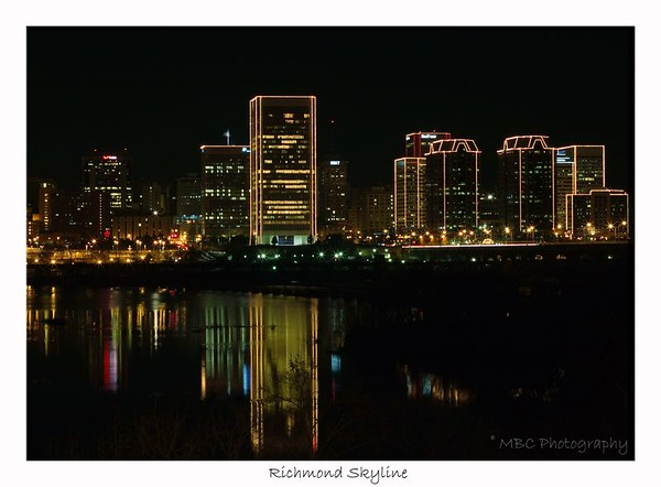 Richmond Skyline.  This is the skyline of Richmond, Virginia as it is lit up for the Christmas Holidays.