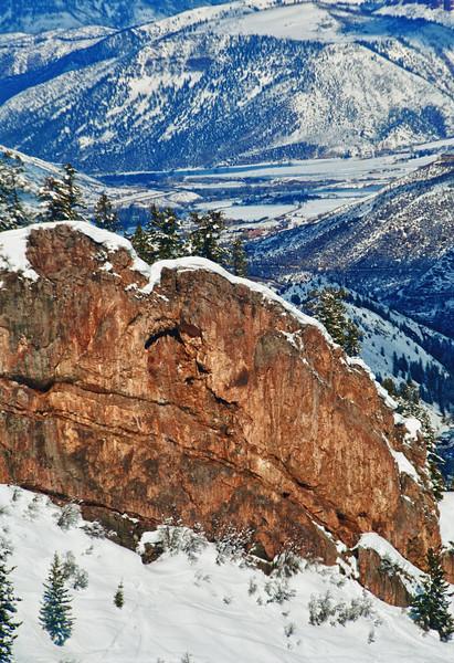 Rock on Ski slope in Aspen