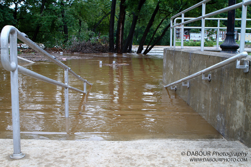 On the Easton side, a flooded stairway along the Delaware river