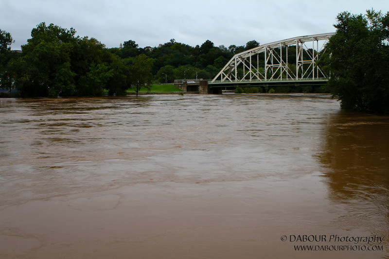 Wide shot from the Phillipsburg side looking at the toll bridge