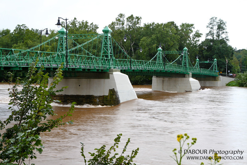 Flooding on the Delaware river at the Riegelsville bridge