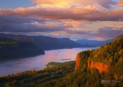 """Columbia River Gorge at Sunset"""