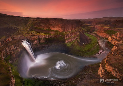"""Palouse Falls Sunrise""  High water levels from spring snow melt, and a long exposure, created this surreal rendition of Palouse Falls in eastern Washington State."