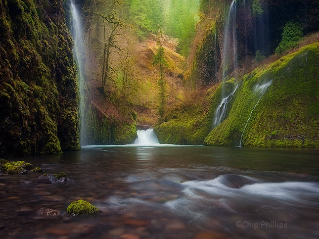 """""""Weeping Walls, Eagle Creek Canyon""""  These falls are located off trail and up Eagle Creek Canyon. Unfortunately, the best time to reach them is when the water level is high during spring!   The trek in was challenging to say the least. Columbia Gorge, Oregon"""