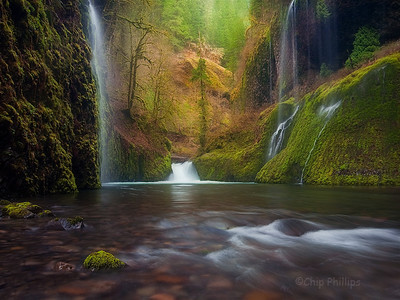 """Weeping Walls, Eagle Creek Canyon""  These falls are located off trail and up Eagle Creek Canyon. Unfortunately, the best time to reach them is when the water level is high during spring!   The trek in was challenging to say the least. Columbia Gorge, Oregon"