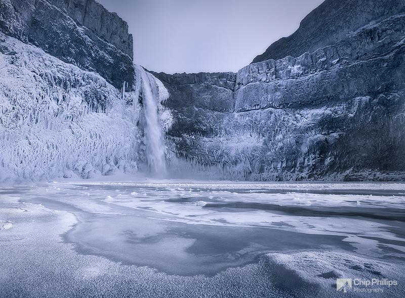 """Frozen Palouse Falls""  Shot from inside Palouse Falls Canyon, on a -10(f) degree winter evening."