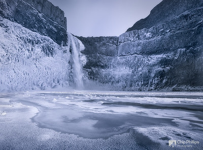 """Frozen Palouse Falls""  Shot from inside Palouse Falls Canyon, on a -10(f) degree winter evening."