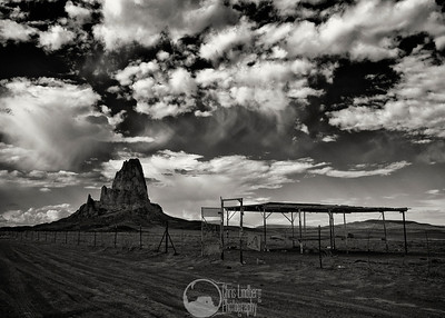 Agathla Peak is an eroded volcanic plug near Monument Valley, considered sacred by the Navajo.
