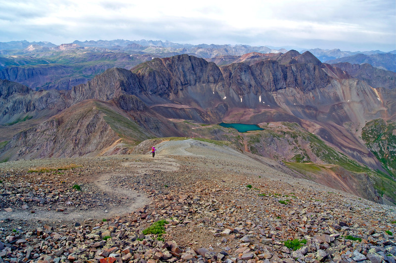 Descending the southwest ridge of Handies Peak toward Sloan Lake; Colorado San Juan Range.