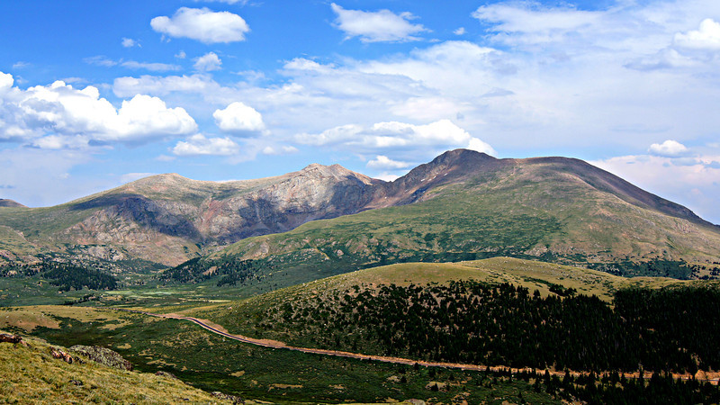 Guanella Pass road climbs to near the treeline on the western slopes of Mt. Evans, Mt. Bierstadt; Colorado Front Range.