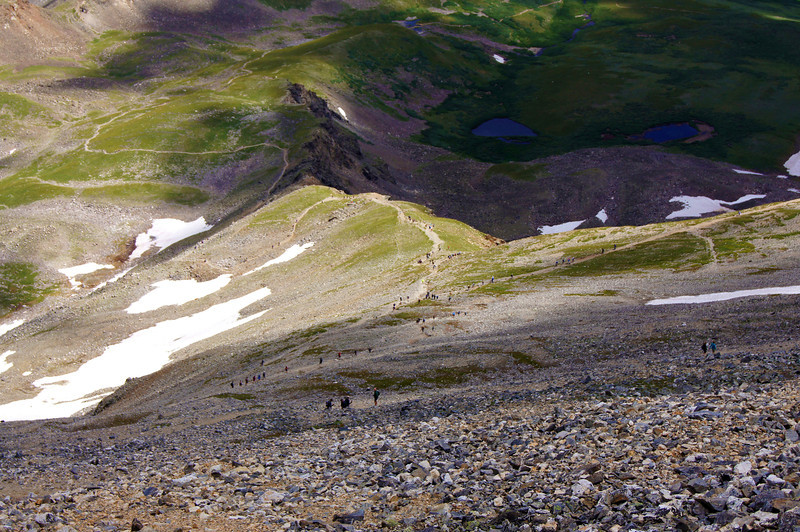 A surreal sight of hikers crowding every segment of the Grays/Torreys trails, Colorado Front Range.