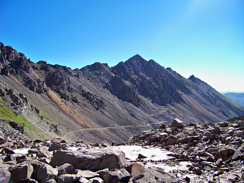The rugged road to the Montezuma Mine on the Castle Peak route, Colorado Elk Range.
