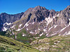 Hikers descend the Humboldt Peak trail toward the South Colony Lakes basin, Sangre de Cristo range.