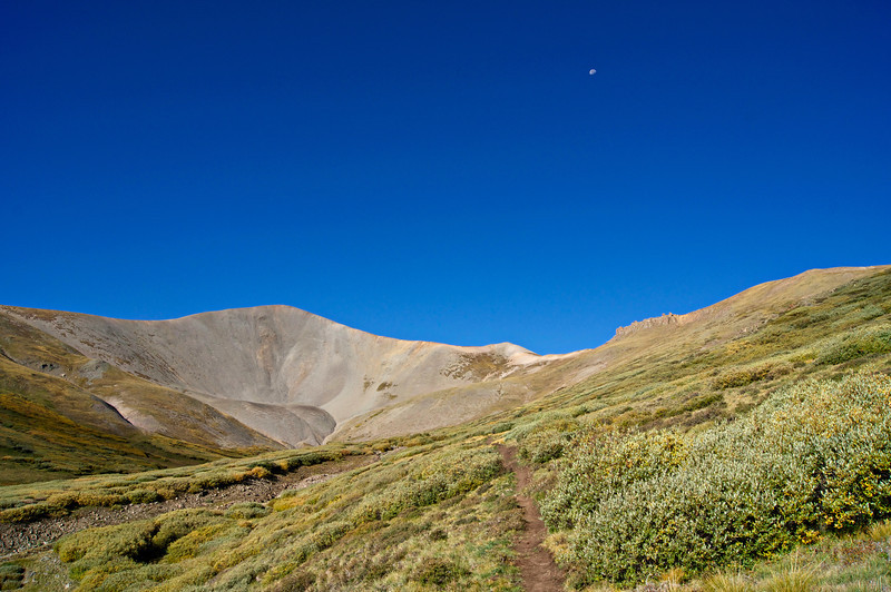 The moon descends over the upper San Luis Peak trail; Colorado San Juan Range
