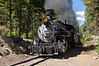 The Durango and Silverton Narrow Gauge steam locomotive stops at Needleton, deep in the Weminuche Wilderness, to pick up backpackers; Colorado San Juan Range
