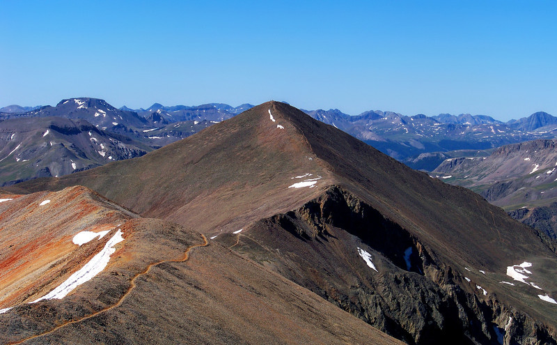 The high saddle between Redcloud and Sunshine Peaks, Colorado San Juan Range.
