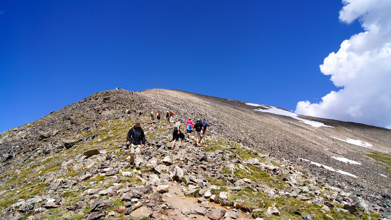 A popular hike up the standard route (east ridge) of Quandary Peak; Colorado Tenmile Range.