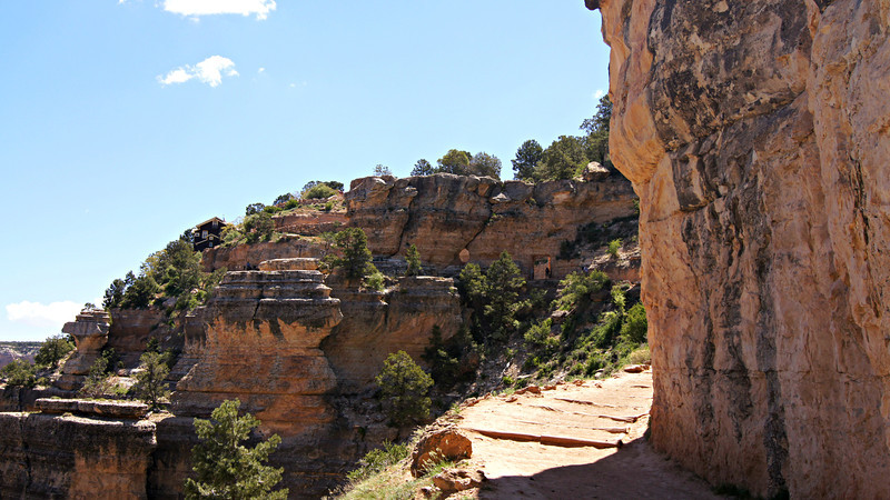 The well-crafted Bright Angel Trail (complete with tunnel) near the top of the Grand Canyon south rim, Arizona.