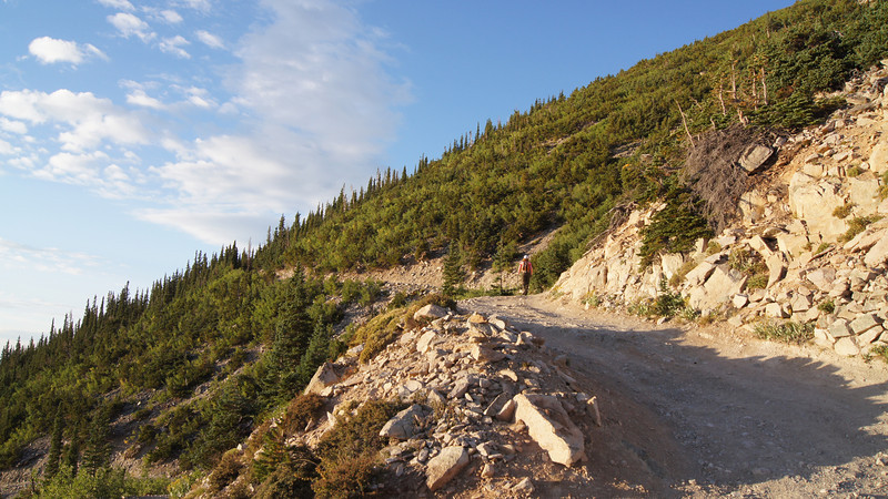 A hiker on the 4WD road leading up Mt. Princeton; Colorado Sawatch Range.