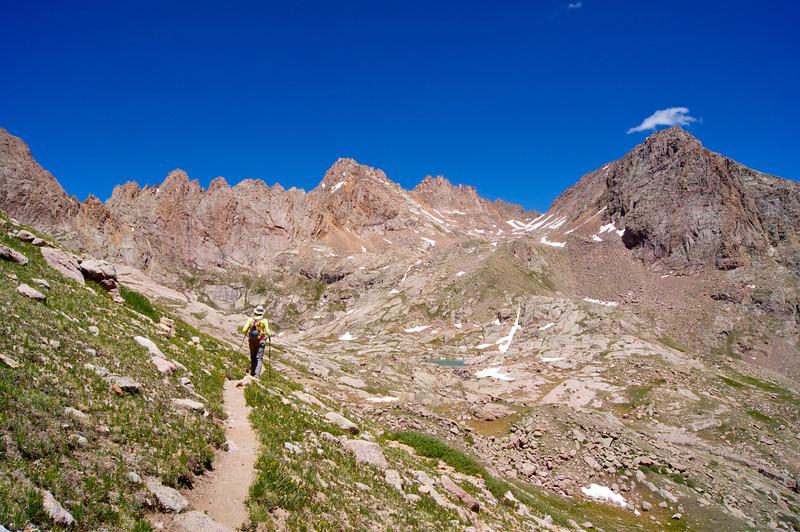 Descending the Mount Eolus trail toward Twin Lakes.  Sunlight Peak towers above (center); Colorado San Juan Range