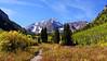 The aspens begin to change in late September, Maroon Bells, Colorado Elk Range.